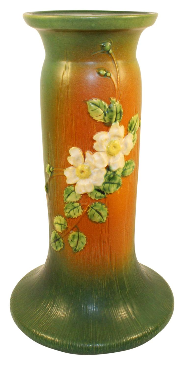 Roseville Pottery White Rose Brown And Green Pedestal 653-8