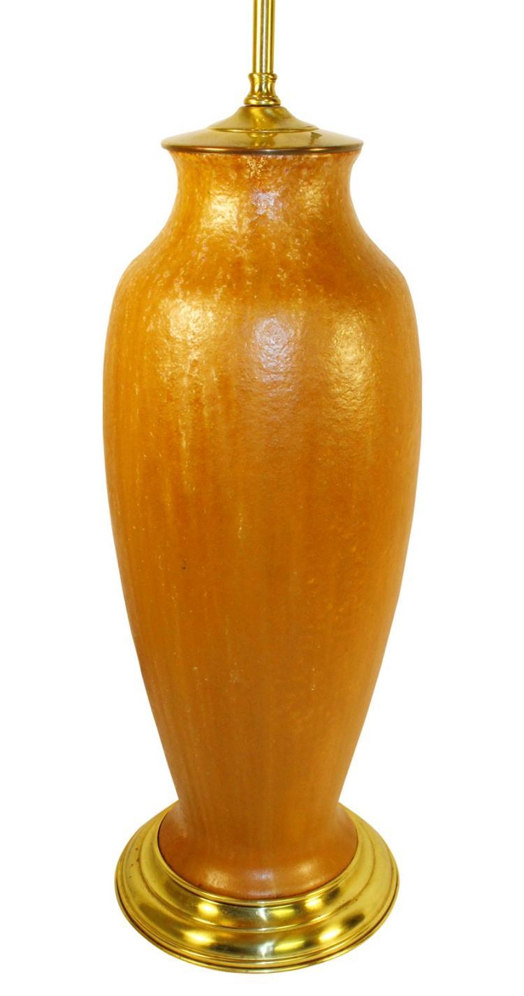 Roseville Pottery Pauleo Tall Mottled Brown Lamp Vase R10-20
