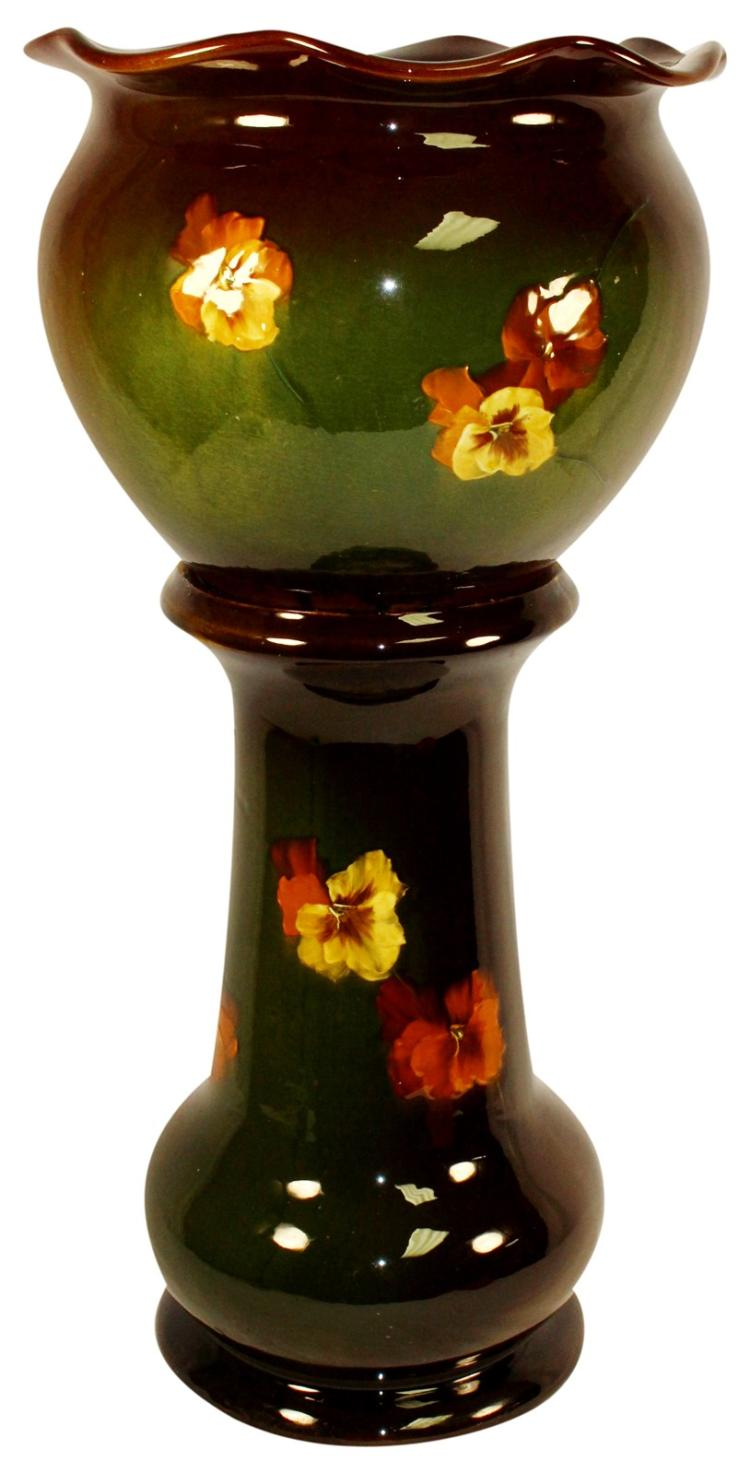 Radford Ruko Pottery Pansy Jardiniere And Pedestal