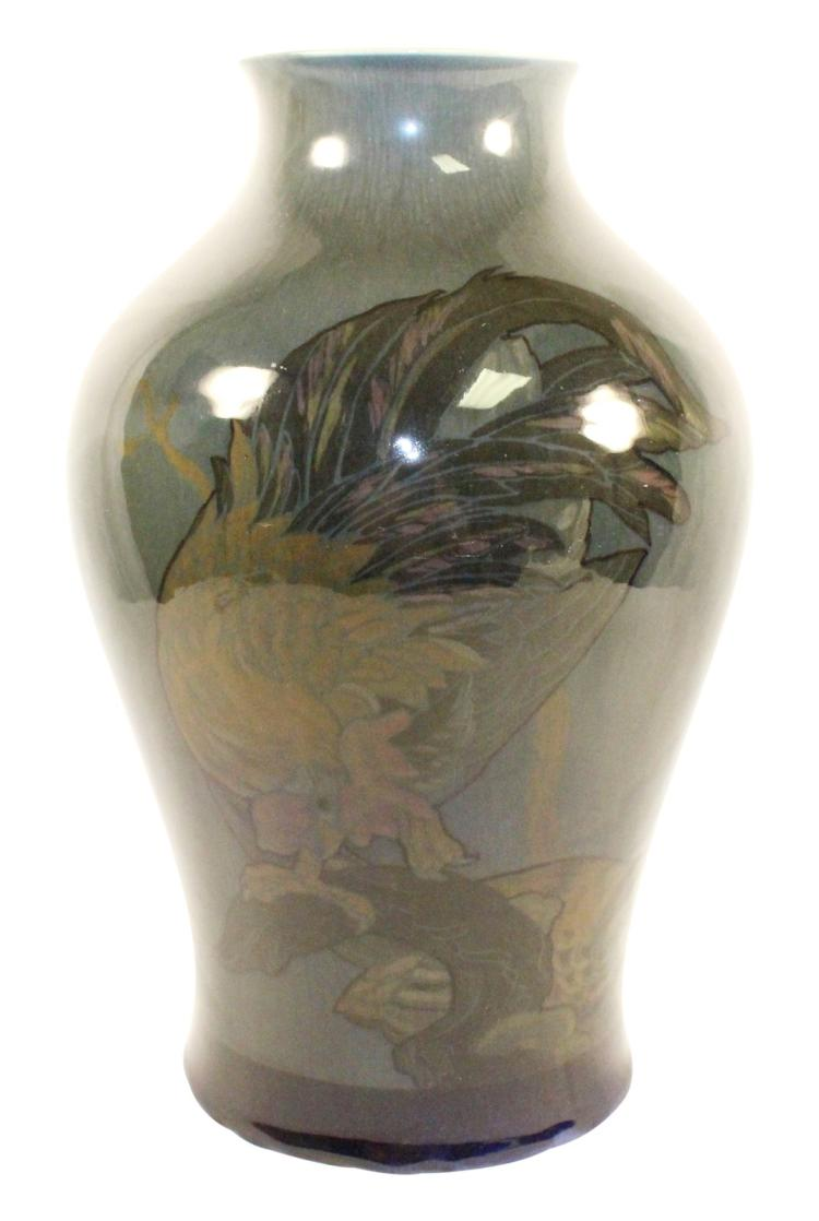 Rookwood Pottery 1920 Rooster, Hen and Flowers Vase Shape 2271 (Conant)