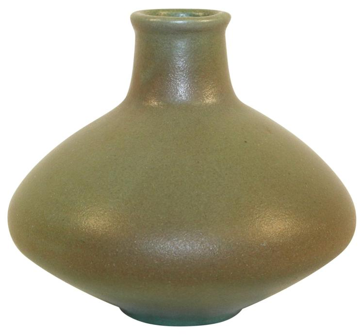 Van Briggle Pottery 1906 Arts and Craft Bulbous Matte Green Vase Shape 339