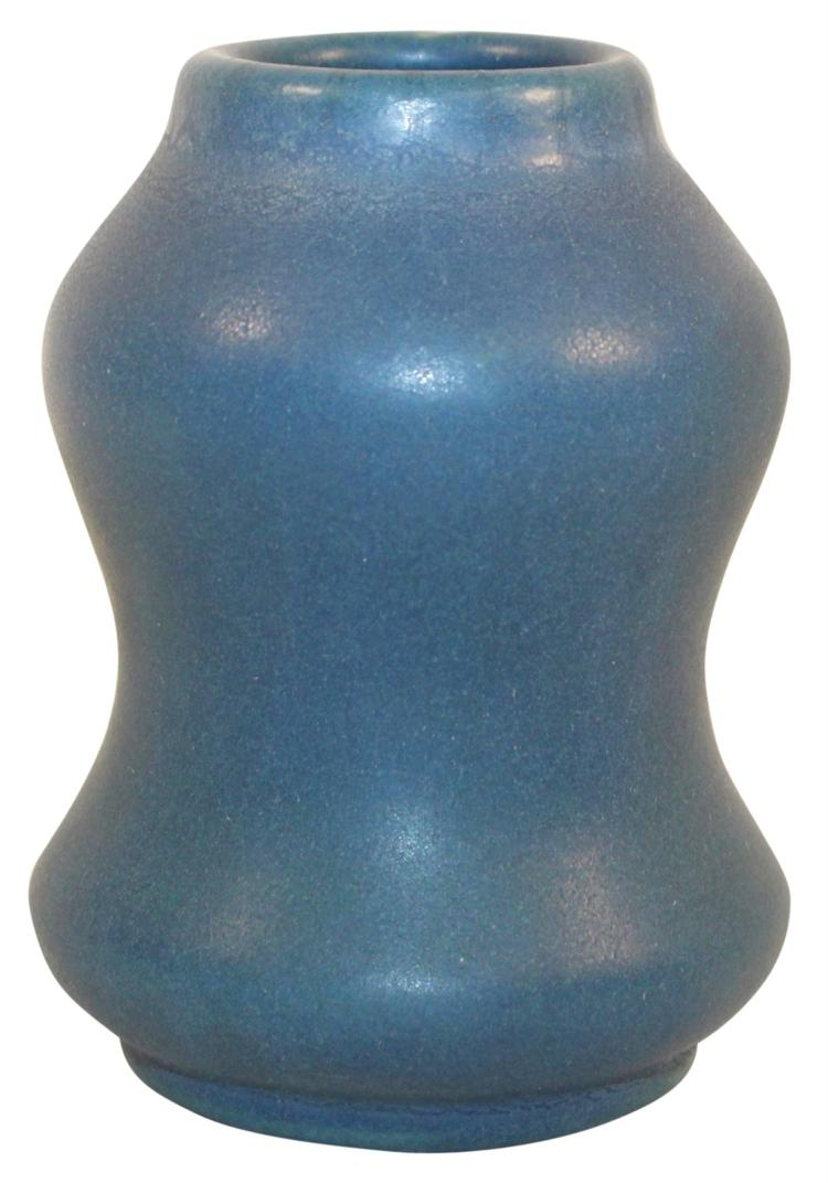 Van Briggle Pottery 1905 Matte Blue Hourglass Shaped Vase Shape 34