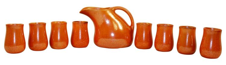 Muncie Pottery Gloss Orange Peel Juice Set Pitcher And Eight Cups Shape 494-4