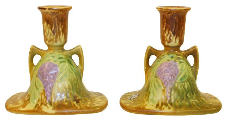 Roseville Pottery Wisteria Tan Candle Holders 1091-4