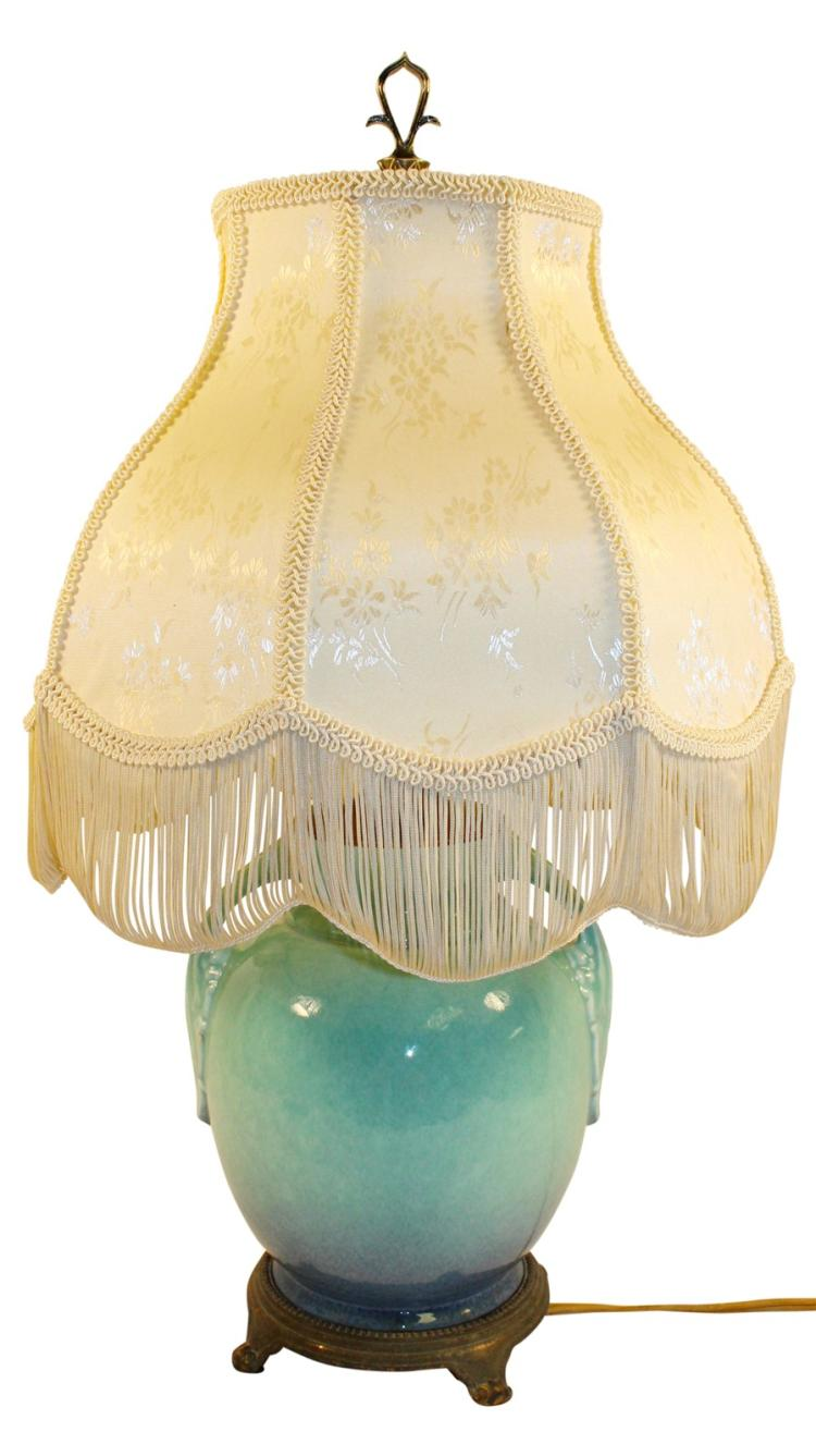 Roseville Pottery Tuscany Turquoise Factory Lamp With Shade 345-8
