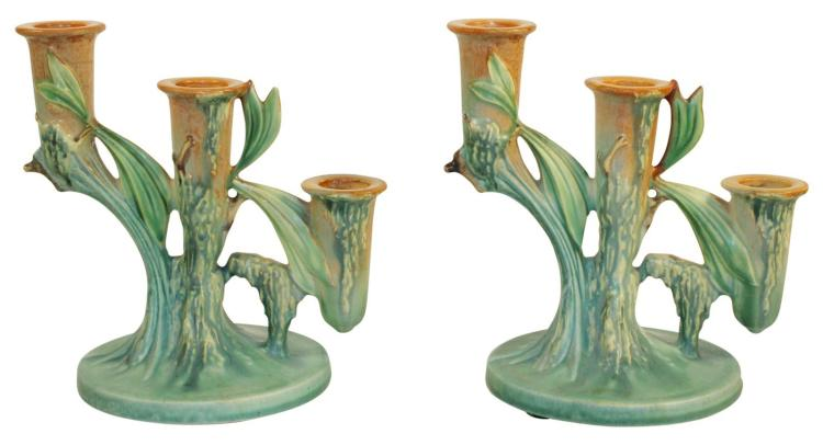 Roseville Pottery Moss Tan Triple Candle Holders 1108