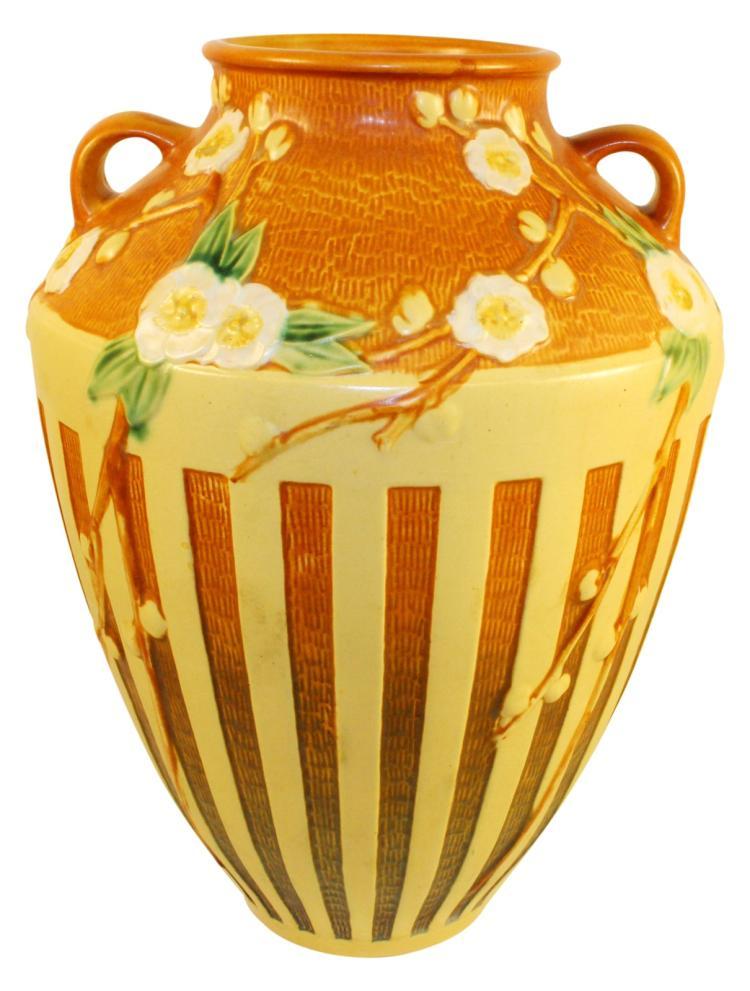 Roseville Pottery Cherry Blossom Brown Vase 628-15