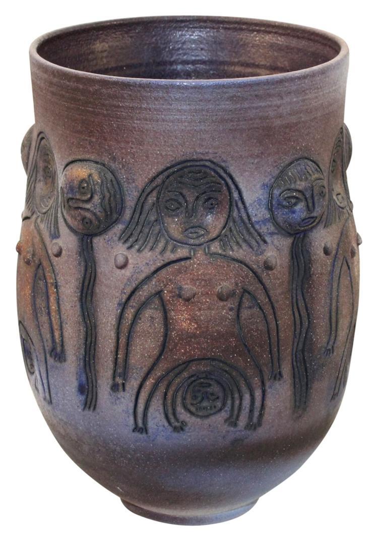 Scheier Studio Pottery 1990 Nudes And Faces Vase