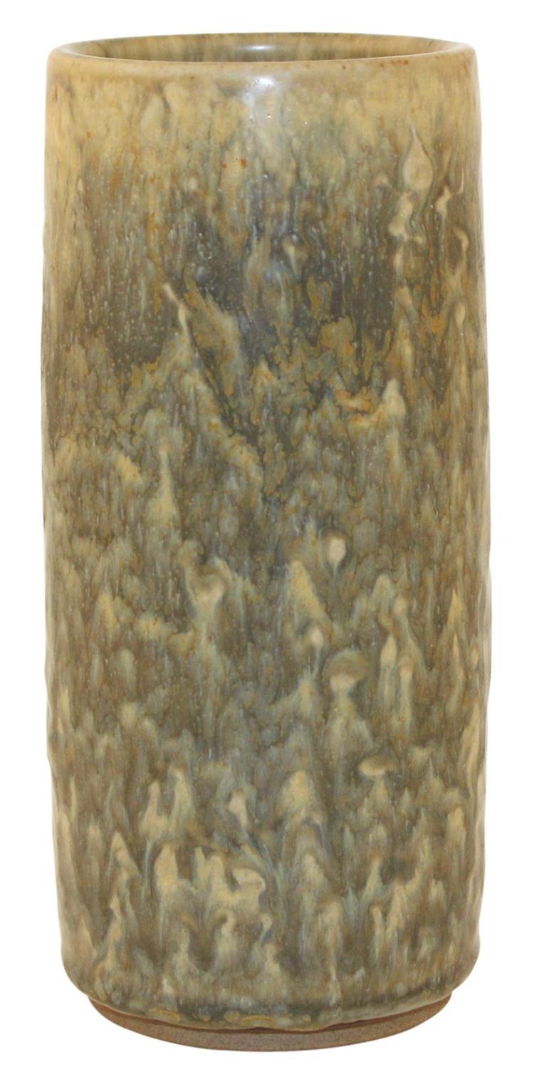 Nymolle Denmark Pottery Cylindrical Mottled Vase (Bruehl)