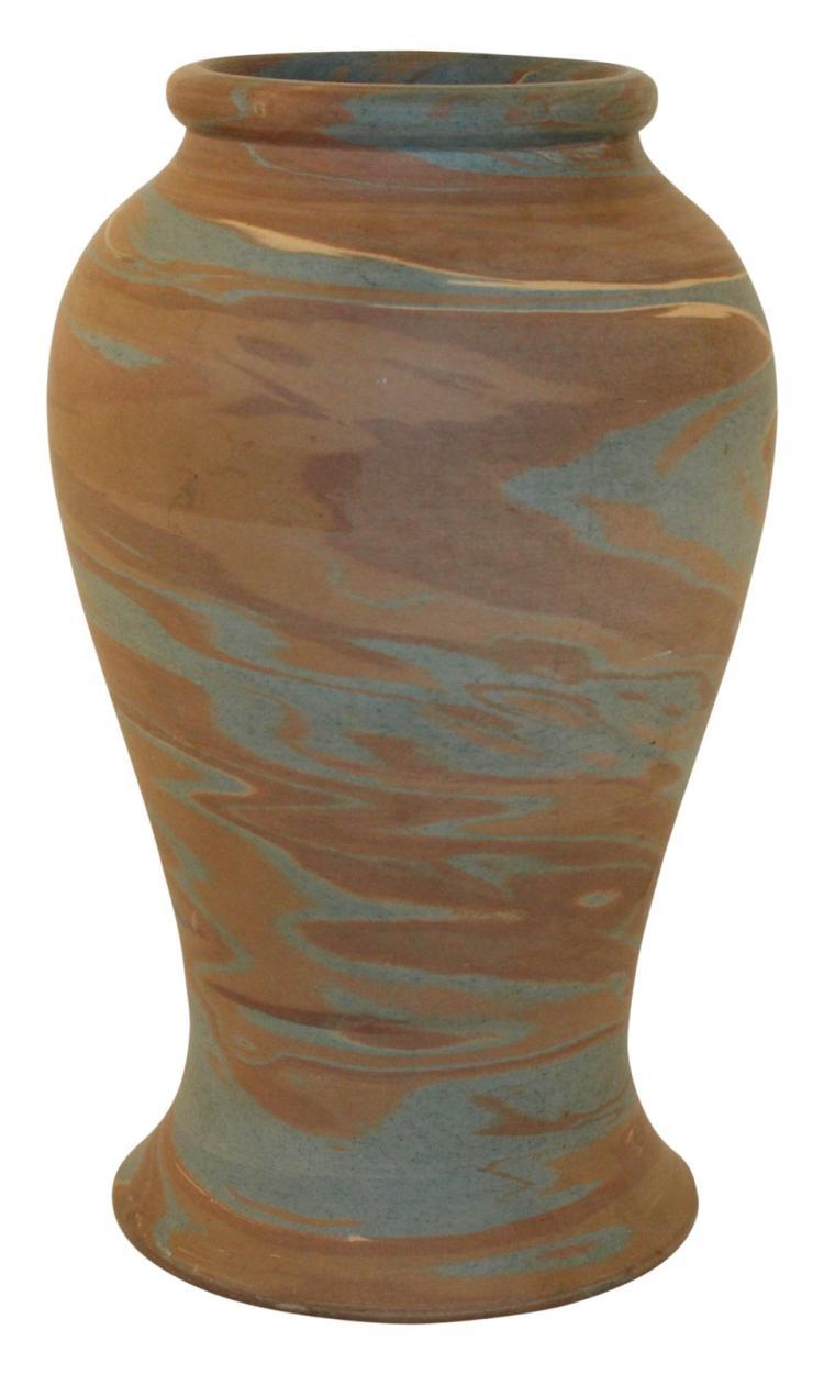 Niloak Pottery Mission Dark Swirl Rolled Rim Vase