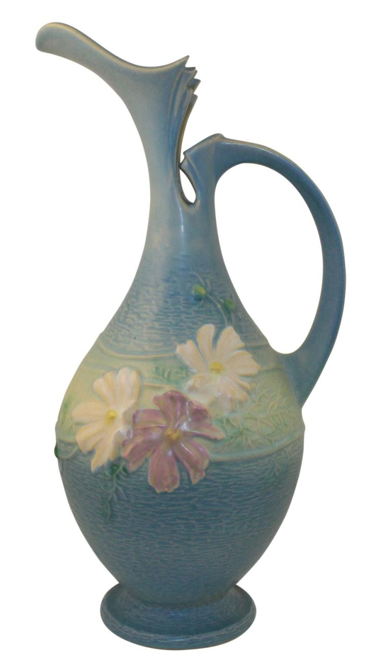 Roseville Pottery Cosmos Blue Ewer 957-15