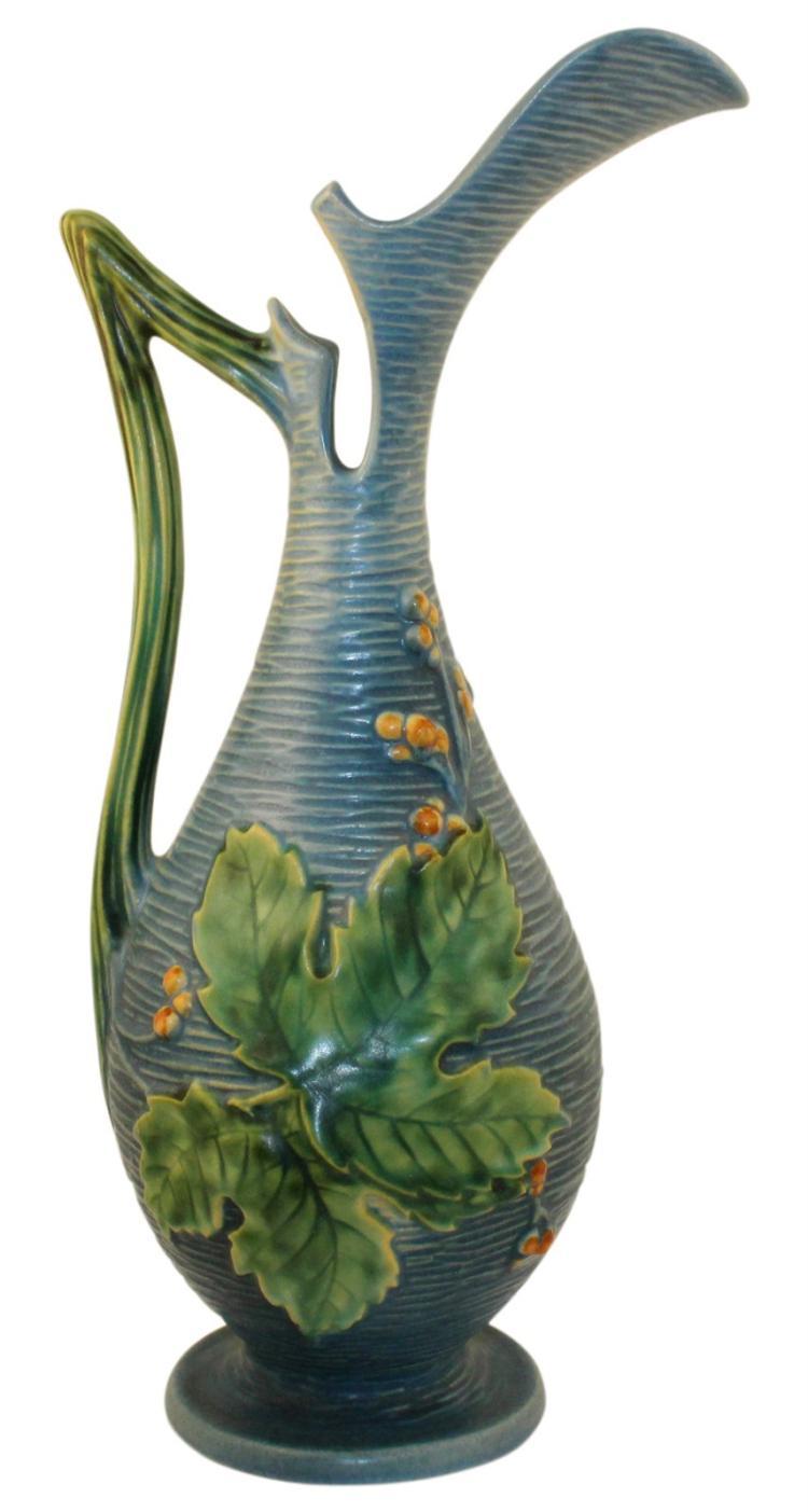Roseville Pottery Bushberry Blue Ewer 3-15