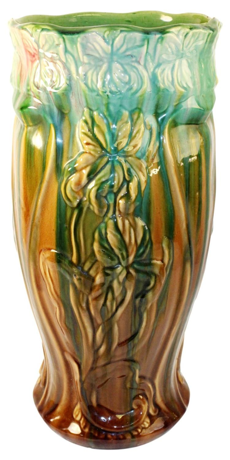Owens Pottery Majolica Blended Lotus Umbrella Stand