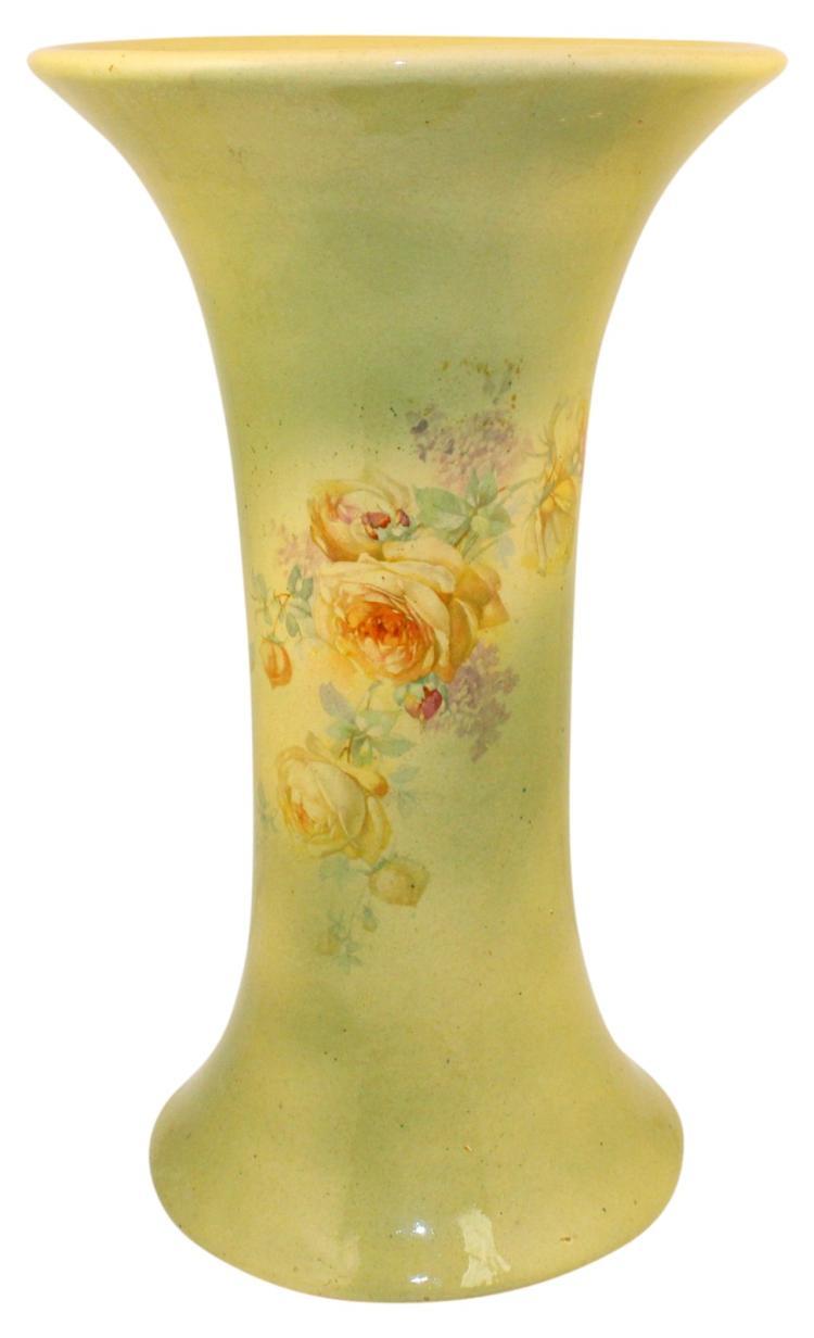 Roseville Pottery Experimental Cream Ware Green Floral Vase 5-12