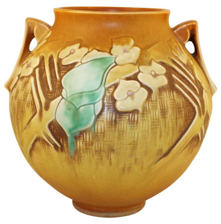 Roseville Pottery Clemana Brown Vase 754-8
