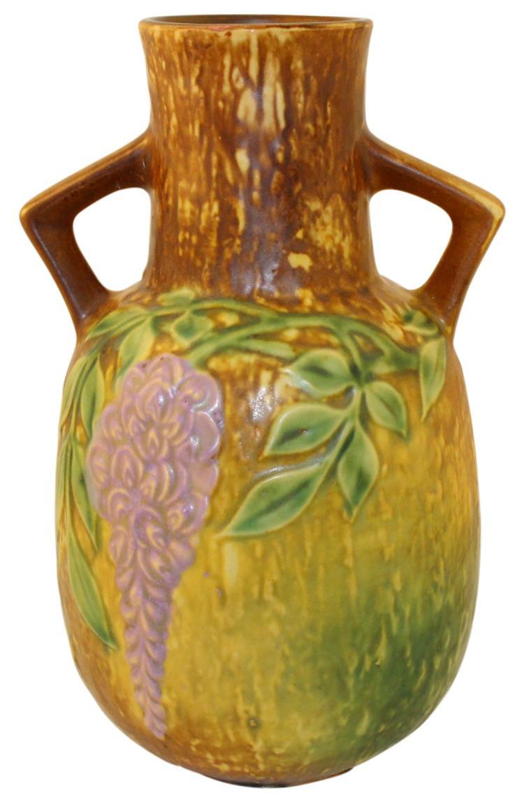 Roseville Pottery Wisteria Tan Vase 638-9