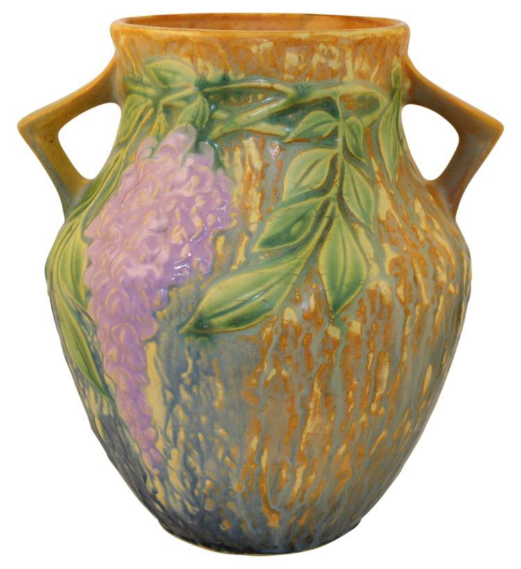 Roseville Pottery Wisteria Blue Handled Vase