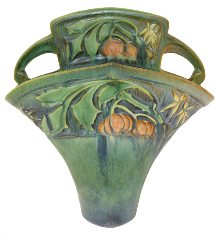 Roseville Pottery Baneda Green Wall Pocket 1269-8