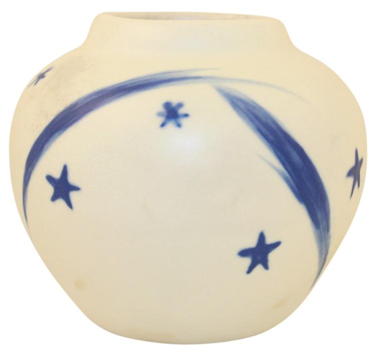 Weller Pottery 1934 Geode Blue and White Ball Vase