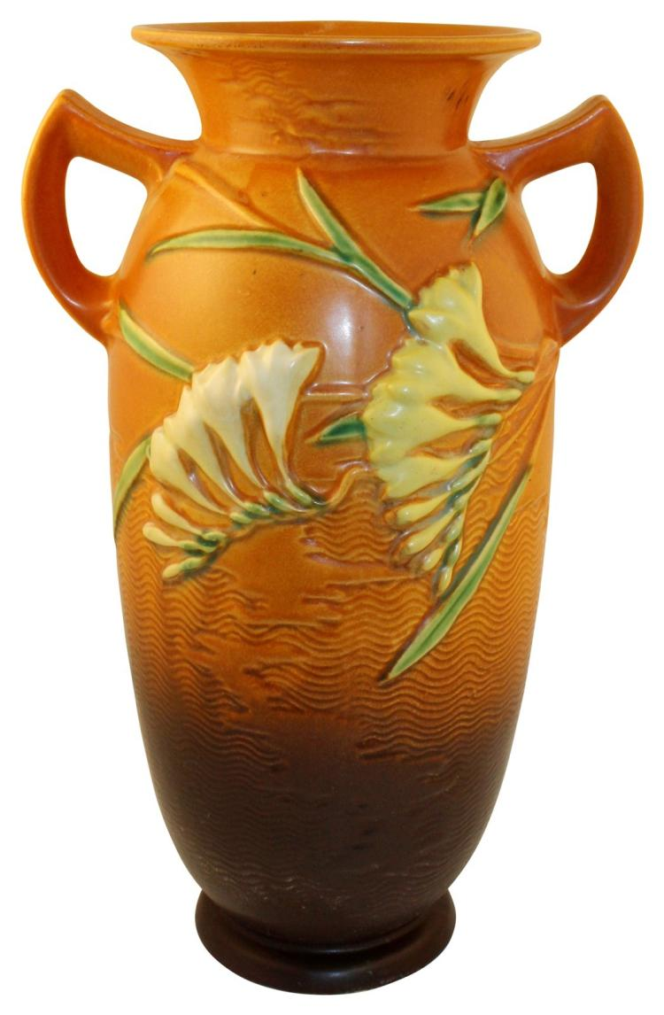 Roseville Pottery Freesia Brown Vase 128-15