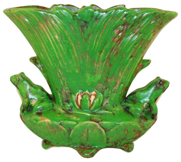 Weller Pottery Coppertone Pillow Vase with Frogs