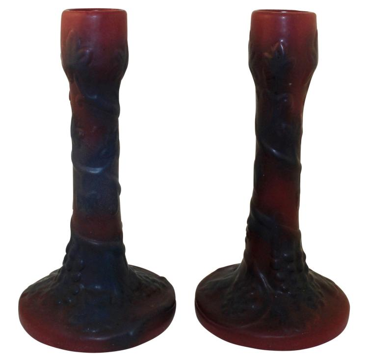 Van Briggle Pottery Late Teens Mulberry Grapevine Candle Holders 869