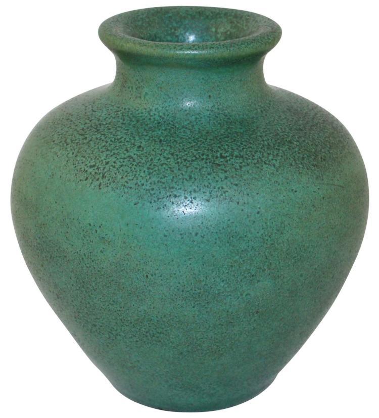 Teco Pottery Matte Green Broad Shouldered Vase