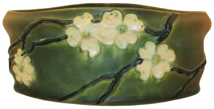Roseville Pottery Dogwood Smooth Oblong Planter With Factory Liner