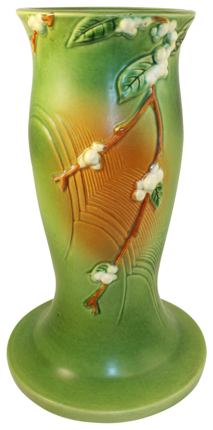Roseville Pottery Snowberry Green Pedestal 1P-8