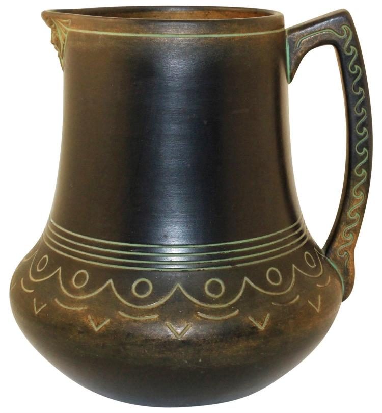 Norse Pottery Large Decorated Face Pitcher 58