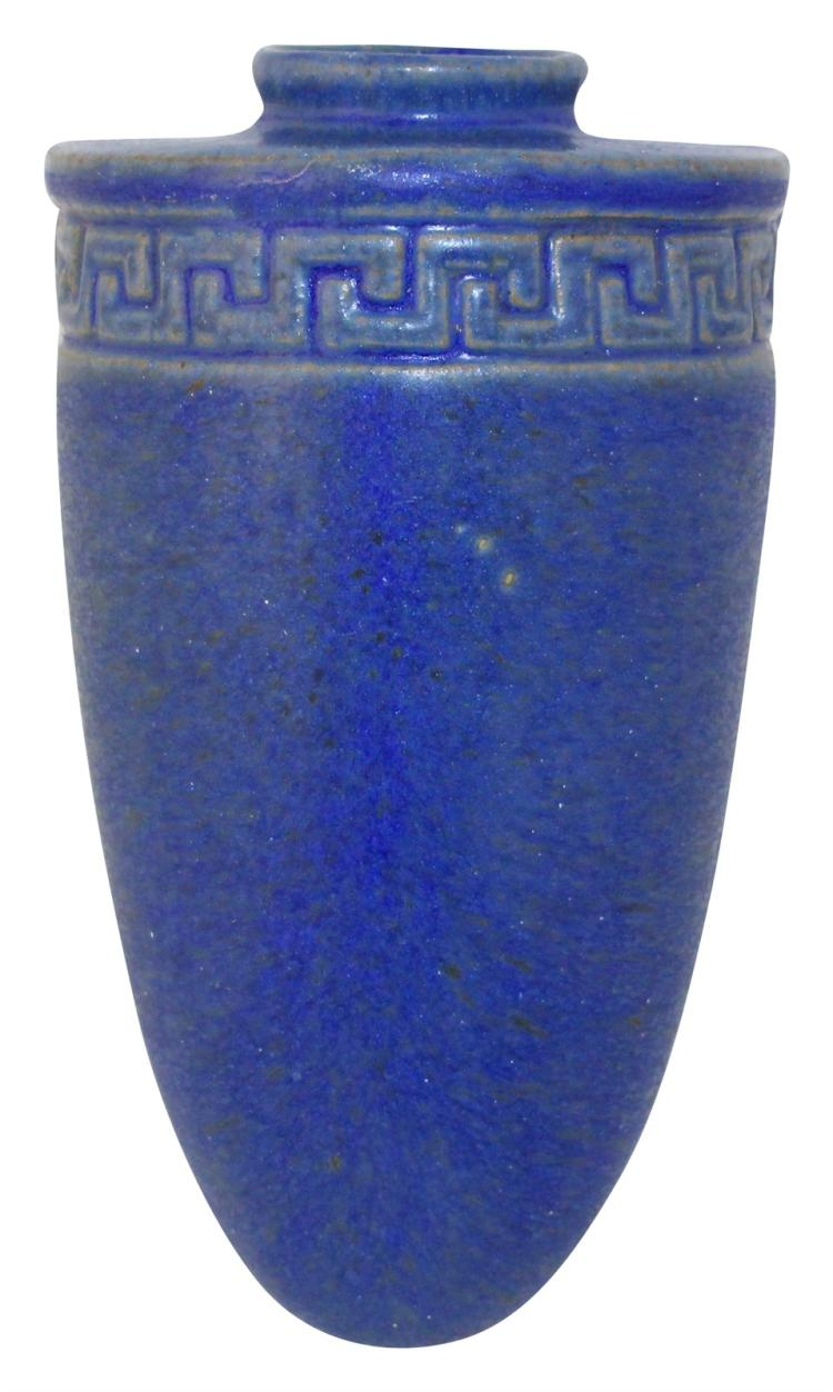 Fulper Pottery Matte Blue Greek Key Wall Pocket