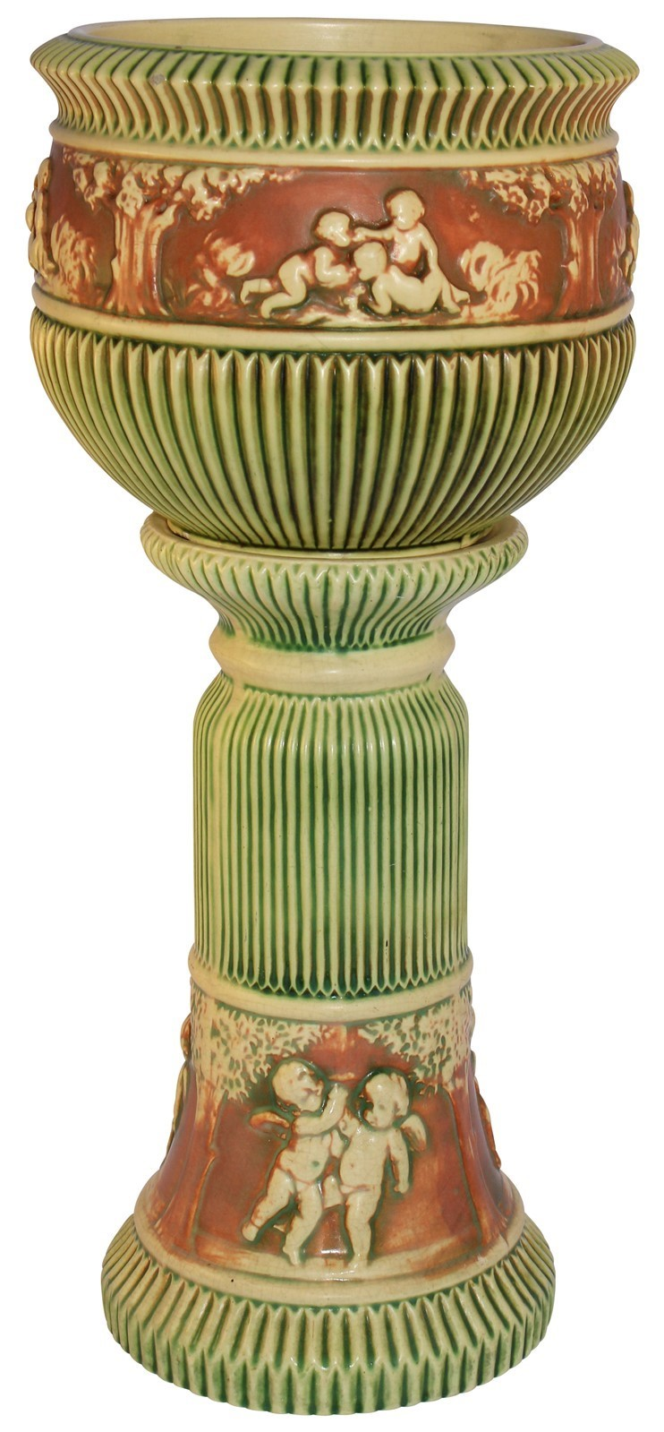 Roseville Pottery Donatello Jardiniere And Pedestal 579-8