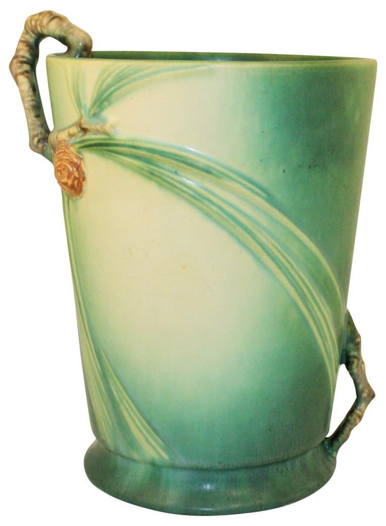 Roseville Pottery Pine Cone Green Vase 706-8