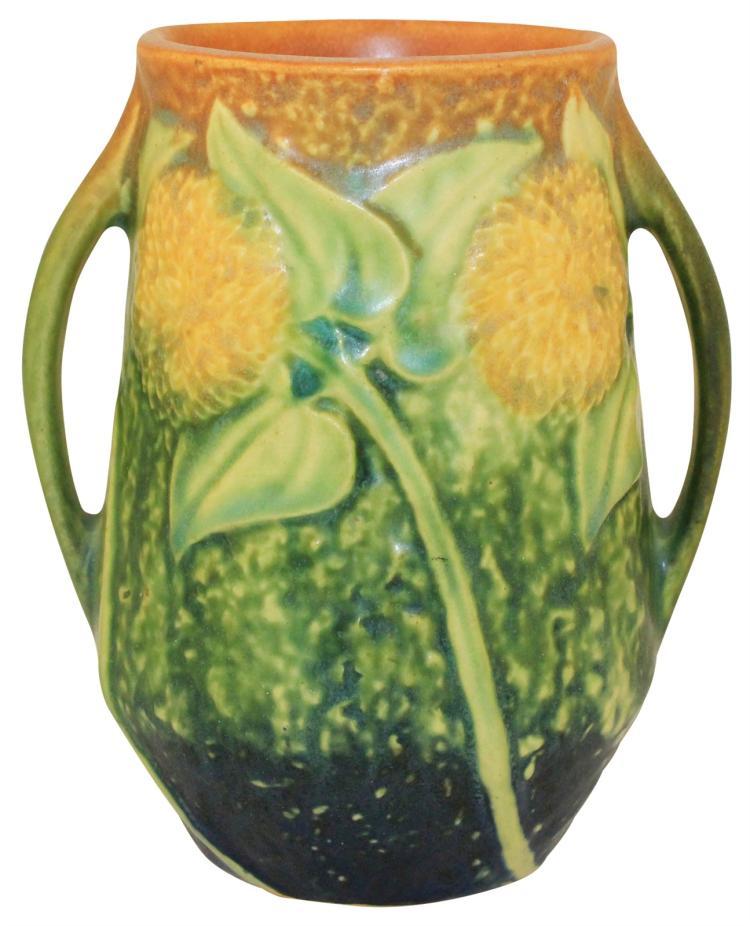Roseville Pottery Sunflower Handled Vase