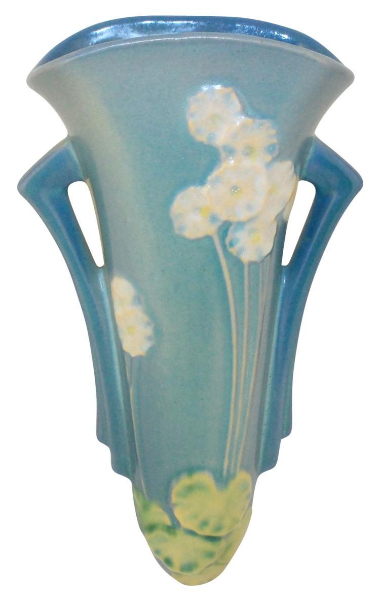 Roseville Pottery Primrose Blue Wall Pocket 1277-8