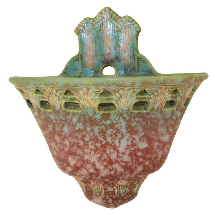 Roseville Pottery Ferella Red Wall Pocket 1266-6