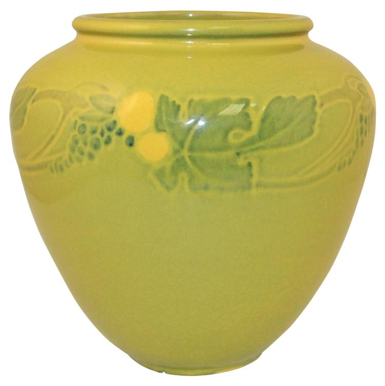 Roseville Pottery Victorian Art Chartreuse Green Vase 257-7