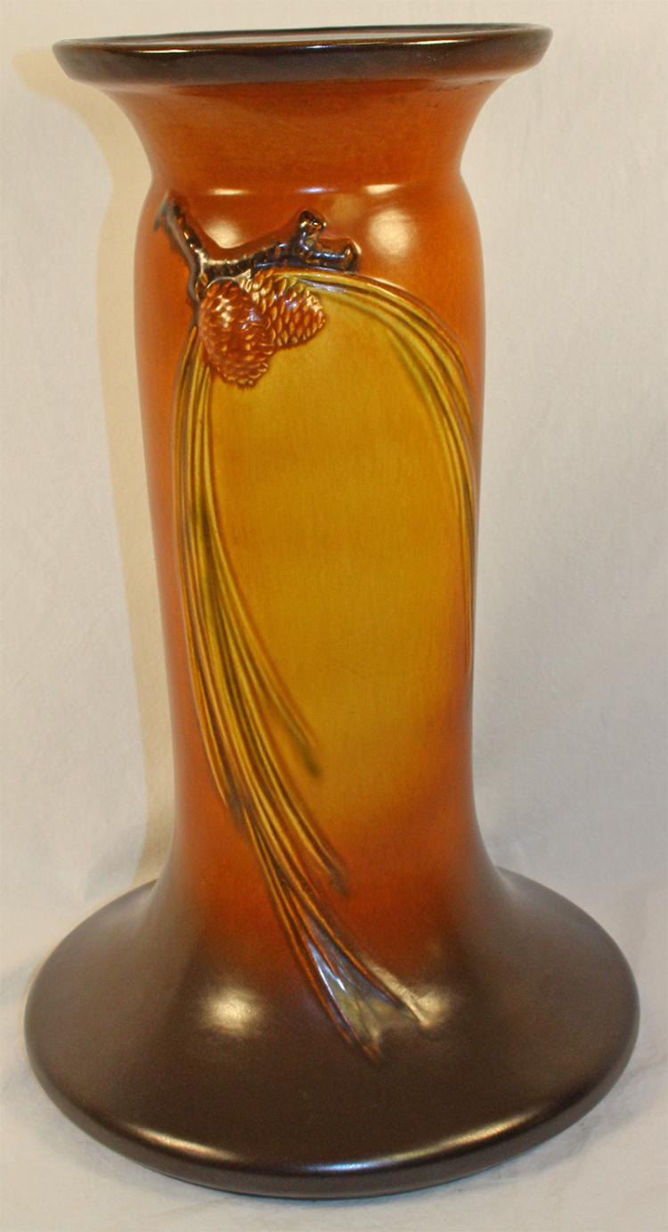 Roseville Pottery Pine Cone Brown Pedestal 406-10