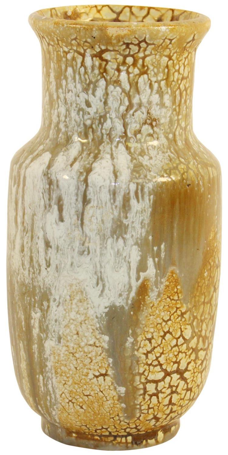 European Art Pottery Curdled Alligator Glaze Vase