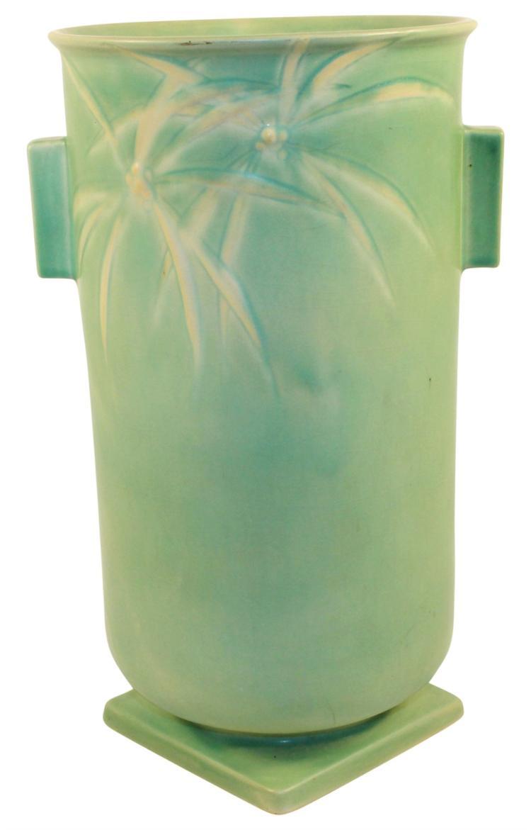 Roseville Pottery Dawn Handled Green Vase 833-12