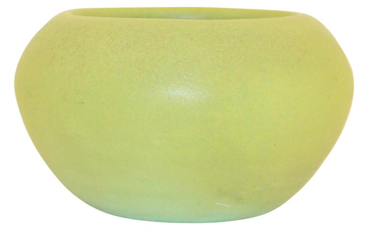 Teco Pottery Olive Matte Green Ribbed Bowl Shape 369A
