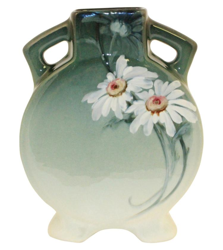 Weller Pottery Eocean Daisy Handled Pillow Vase