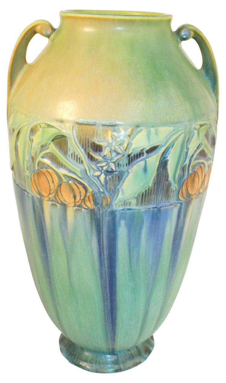 Roseville Pottery Baneda Green Floor Vase 600-15