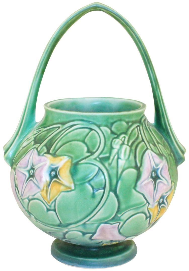 Roseville Pottery Morning Glory Green Basket 340-10