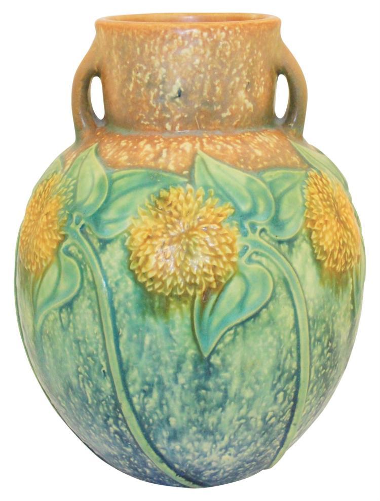Roseville Pottery Sunflower Vase 493-9