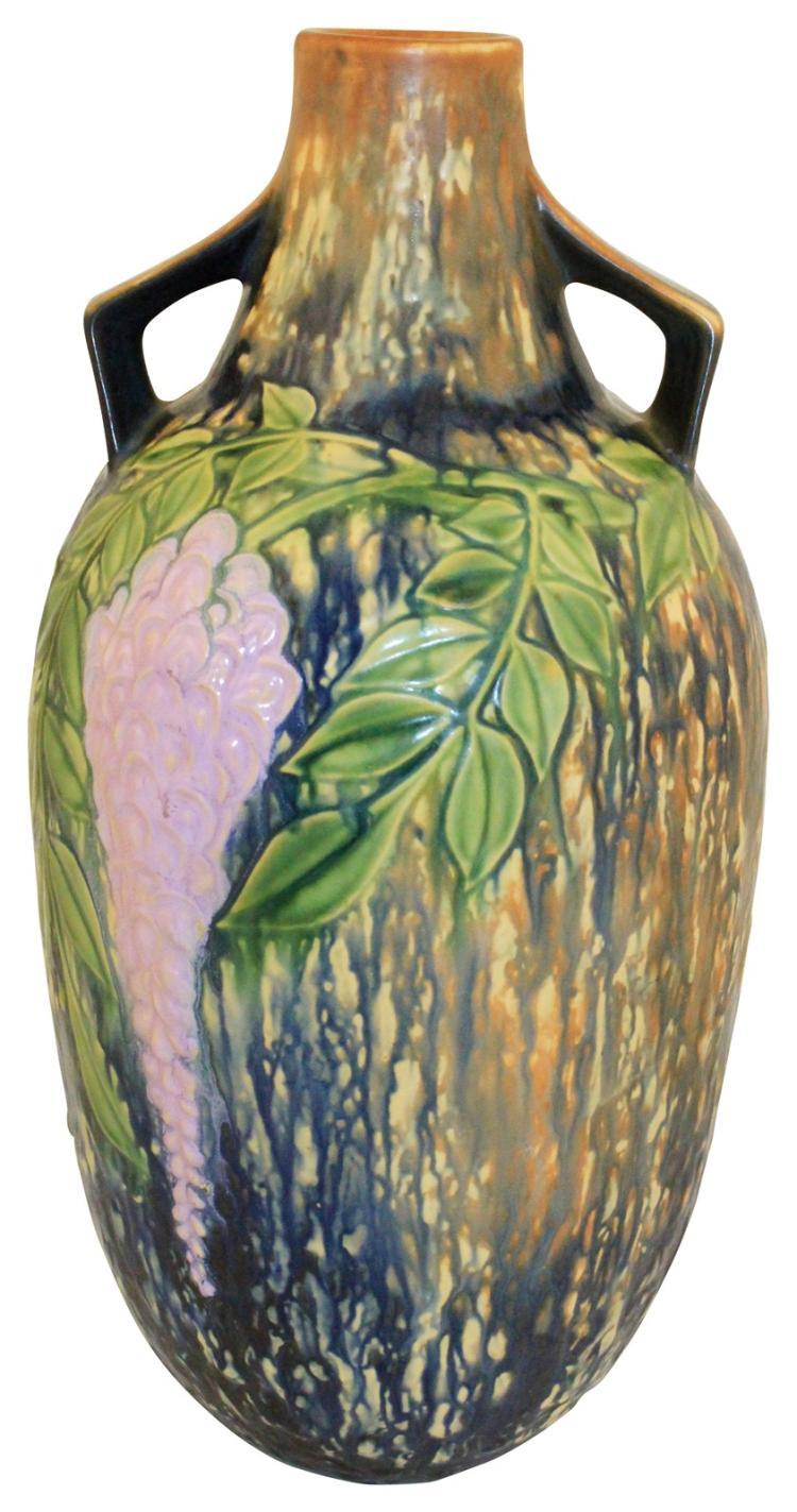 Roseville Pottery Wisteria Blue Floor Vase 641-15