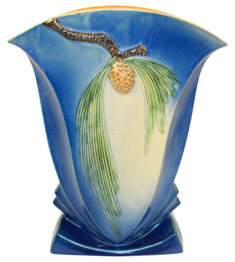 Roseville Pottery Pine Cone Blue Vase 492-12