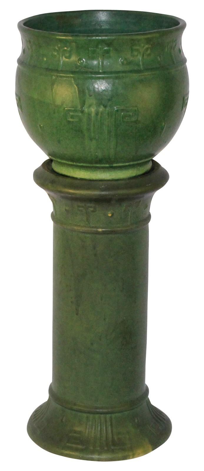 Zanesville Stoneware Pottery Matte Green Jardiniere and Pedestal