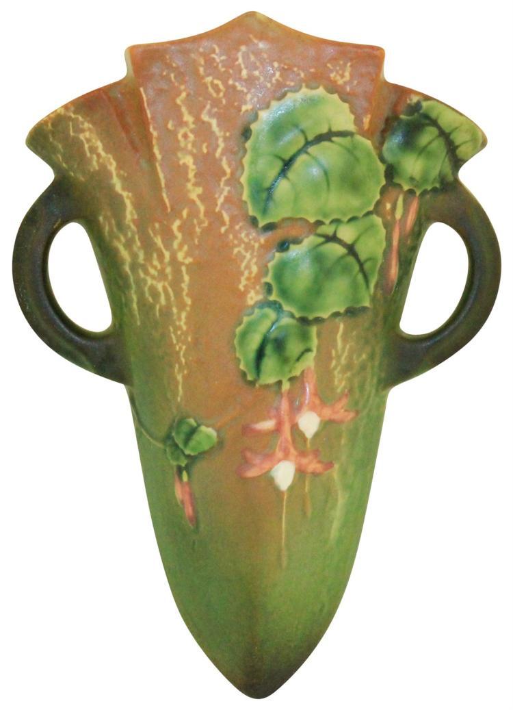 Roseville Pottery Fuchsia Green Wall Pocket 1282-8