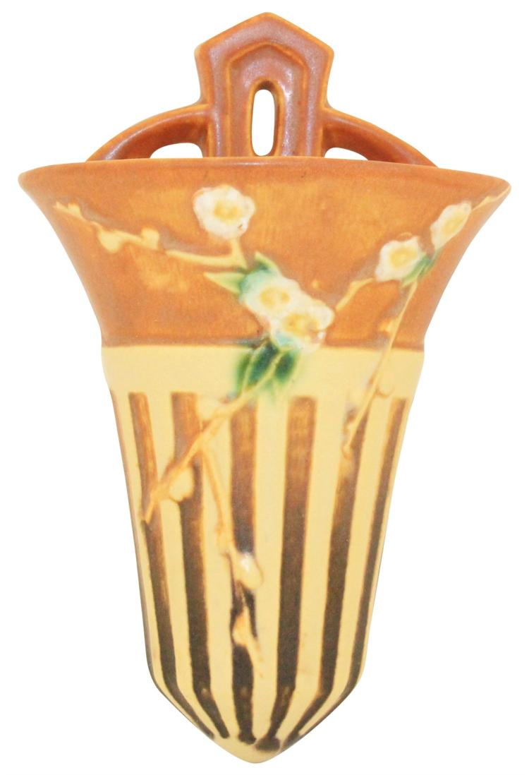 Roseville Pottery Cherry Blossom Brown Wall Pocket 1270-8